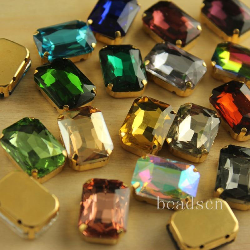 401652a9c9192 12 قطع 13x18 ملليمتر المستطيل خياطة على بلورات الأحجار مع طلاء الذهب إعداد  الراين لل زينة الزفاف اختيار اللون