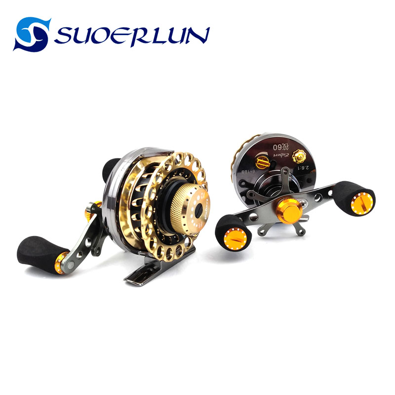 6+1BB 2.6:1 fly fishing reel with CNC-machined aluminum alloy body raft fishing reel
