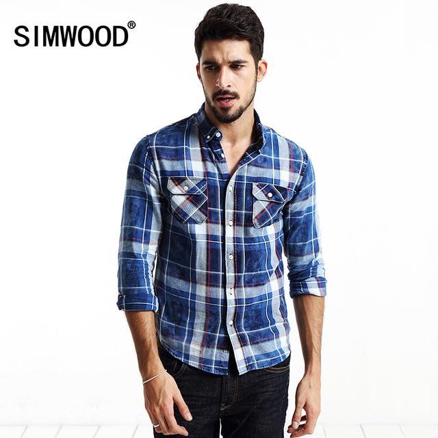 SIMWOOD ropa de la marca 2016 nuevo otoño de los hombres Slim Fit algodón de Manga Larga camisa A Cuadros camisa de Ocio Ocasionales Respirables CS1519
