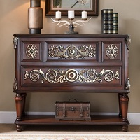 12pcs pack  Retro Design 120cm Wood Console Table with Embossed Decor/ 102cm High Solid Wood Frame with Plywood Board