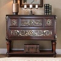 Retro Design 120 cm Holz Konsole Tisch mit Geprägte Decor/Vintage Stil/102 cm Hohe Massivholz Rahmen mit Sperrholz Bord-in Konsoltische aus Möbel bei