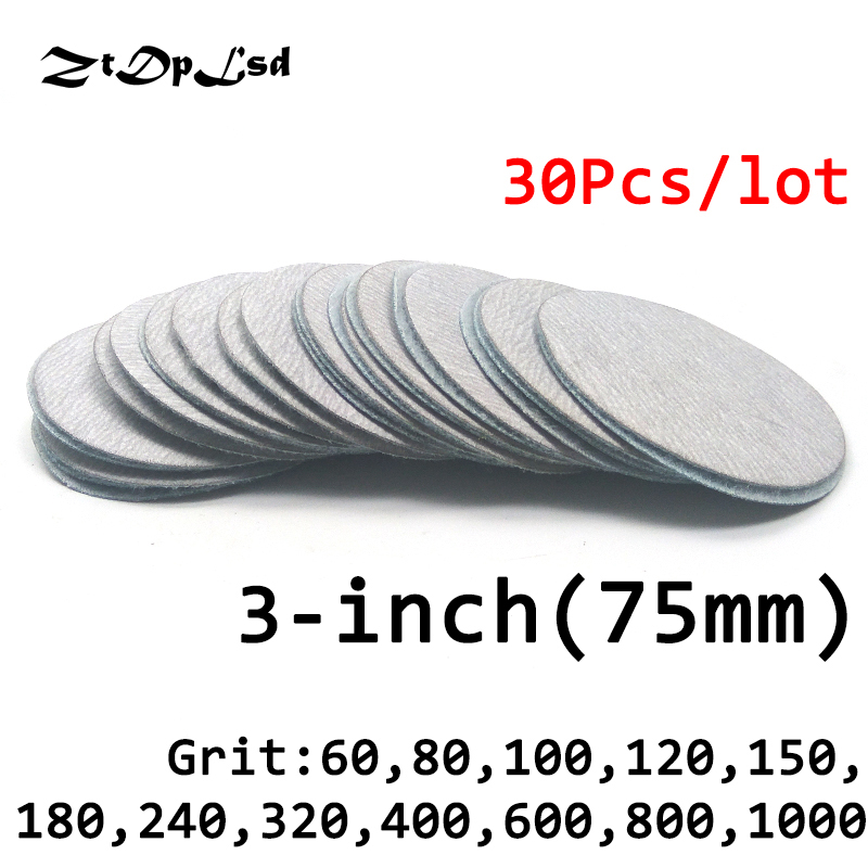 ZtDpLsd 30 Pc/lot Dry Grinding 3 Inches 75MM Abrasive Paper Flocking Sandpaper Pad Sanding Disc Electric Grinder Accessories water dry sanding paper sandpaper w3 5 w7 w10 w14 w20 w28 w40 w50 w63 w70