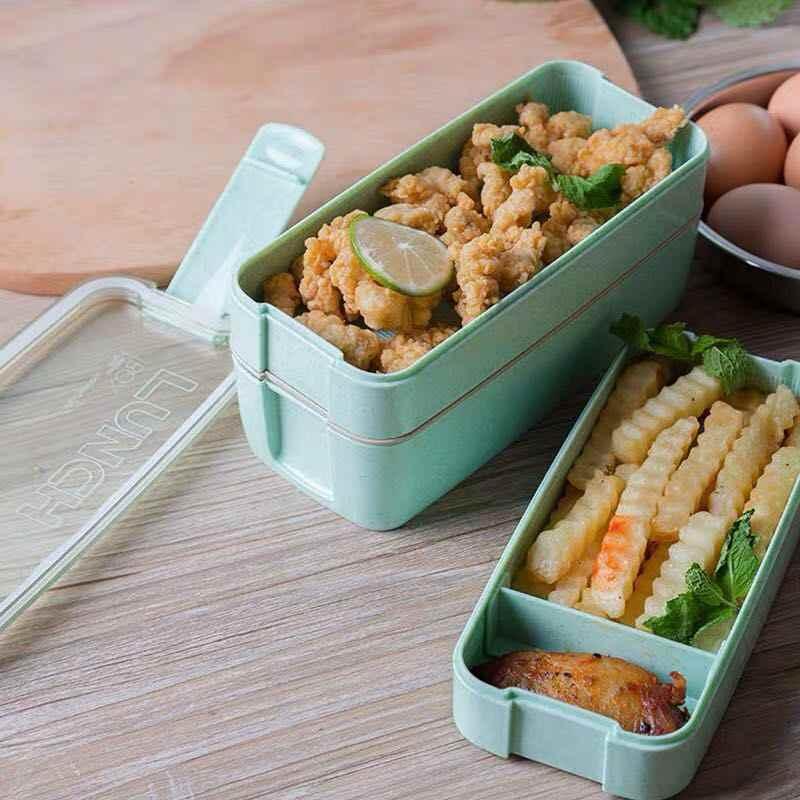 900 мл портативный материал не вредит здоровью Ланч-бокс 3 слоя пшеничной соломы коробки для обедов бенто микроволновая посуда контейнер для хранения еды коробка для еды