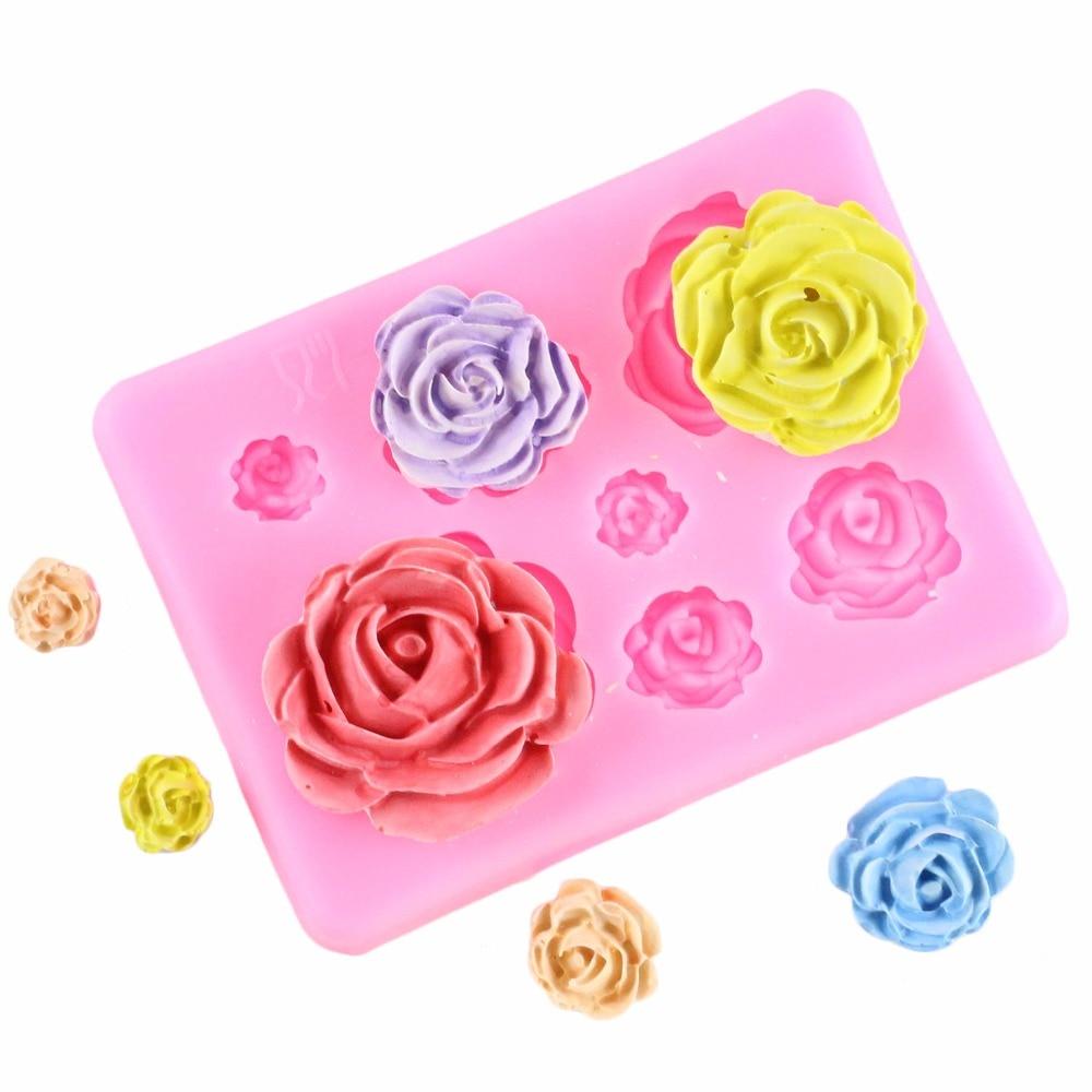 3D Rose Flower Chocolate Cake Silicone Soap Mold Cupcake Baking Fondant Tool G