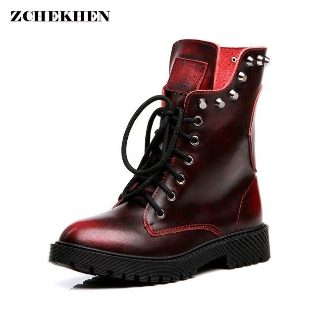 4817429391 2018 Genuína mulheres de couro rebite martin botas militares botas feminina  moda botas femininas tornozelo motocicleta