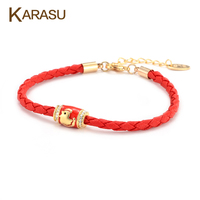 Lucky Cute Chicken Tiny Crystal Round Bead Pendant Gold Plated Red Thread String Leather Rope Charm