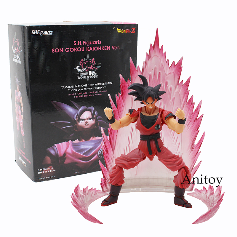SHFiguarts Dragon Ball Z Son Gokou Goku Kaiohken Ver. PVC Action Figure Collectible Model Toy 16cm KT4229 genuine bandai exclusive tamashii nation 10th anniversary s h figuarts dragon ball z son gokou goku kaiohken ver action figure
