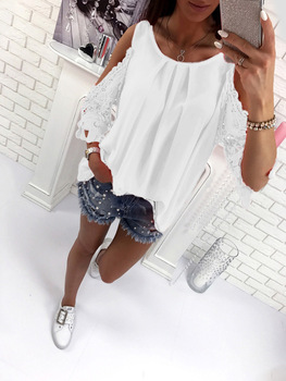 Women Blouse Shirt 2019 Summer Beach Casual Sexy Cold Shoulder Long Sleeves Hollow Out Ladies Mujer Tops Tee