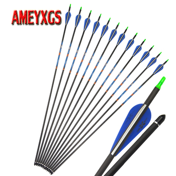 12pcs Archery 400 Spine 31inch Pure Carbon Arrow With Rubber Feathers For Outdoor Bow And Arrow Shooting Hunting Accessories фото