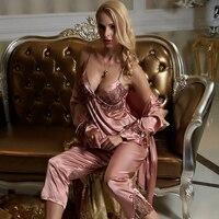 2015 Spring New Three Pieces Red Pajama Sets Women Sexy V Neck Sleepwear Imitation Silk Full