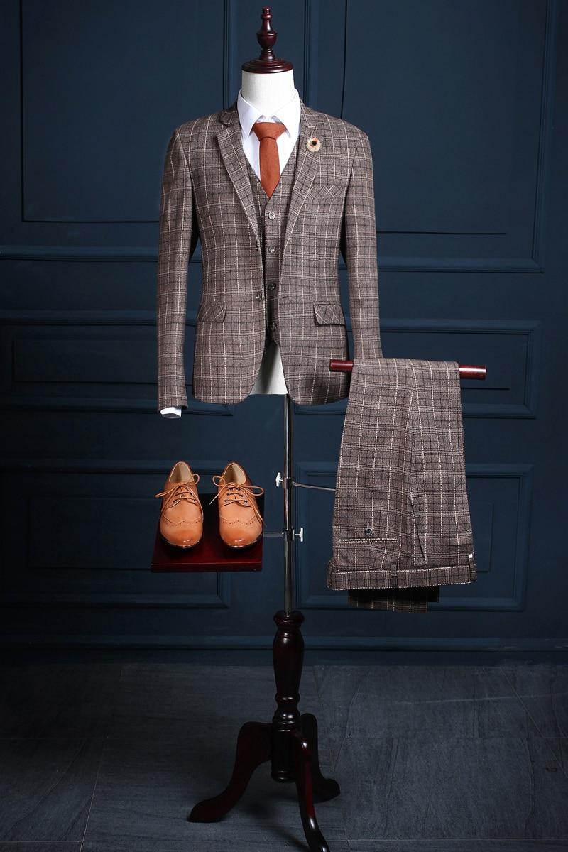 2017 Latest Coat Pant Designs Brown Pattern Men Suit