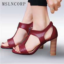 Plus Size 34-43 Fashion Summer Women Sandals Fashion Thick High Heels Sexy Gladiator T strap Zip Party Dress Shoes Woman Pumps plus size 34 46 fashion women summer high heels sandals ankle buckle strap boots party sexy pumps patent leather gladiator shoes
