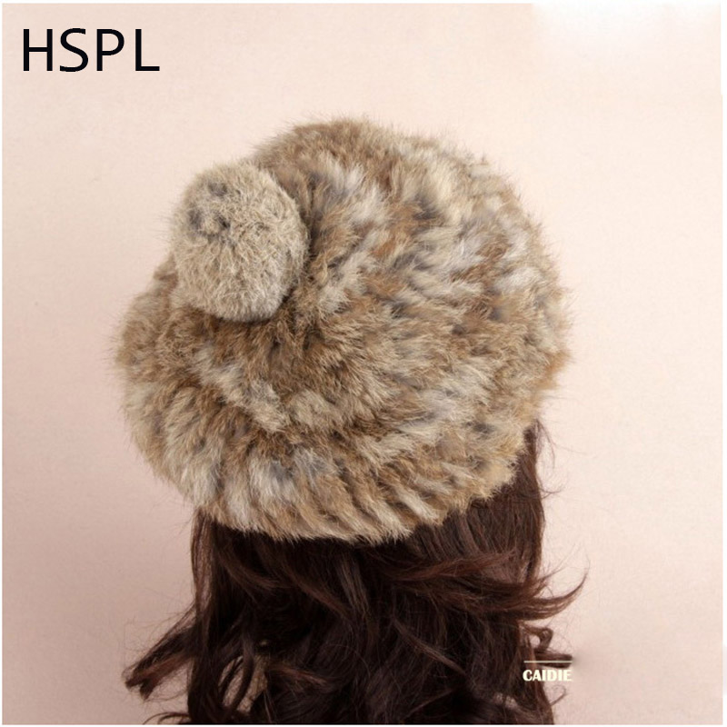 HSPL 2017 New Item Fashion Unisex Knitted Rabbit Fur Cap With Ball for Winter real fur
