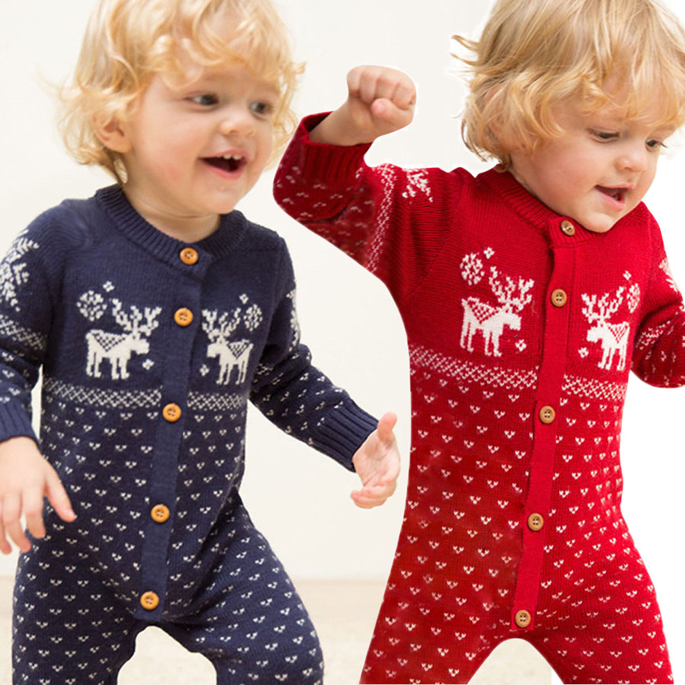 Baby Christmas Clothes Unisex Newborn Winner Romper Jumpsuit Baby Overall Long Sleeve Sweaters Coat Deer sport Clothes#ES