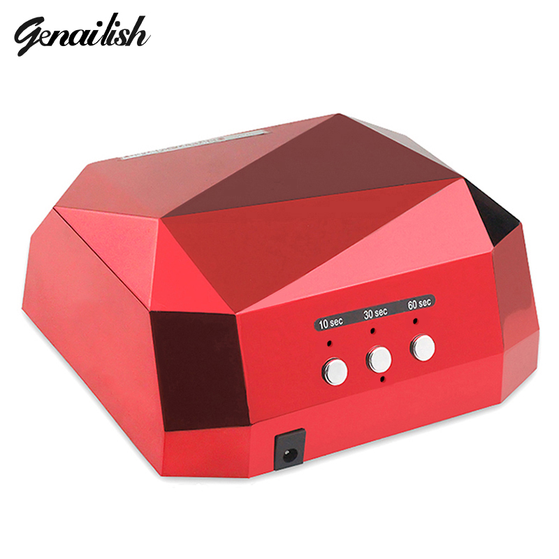 genailish 36W UV Lamp LED Lamp UV Nail Dryer Nail Lamp Diamond Shaped CCFL Curing for UV Gel Nails Polish Nail Art Tools auto sensor uv lamp 36w led lamp nail dryer gel nail lamp curing for light nail dryer polish nail tools diamond shaped