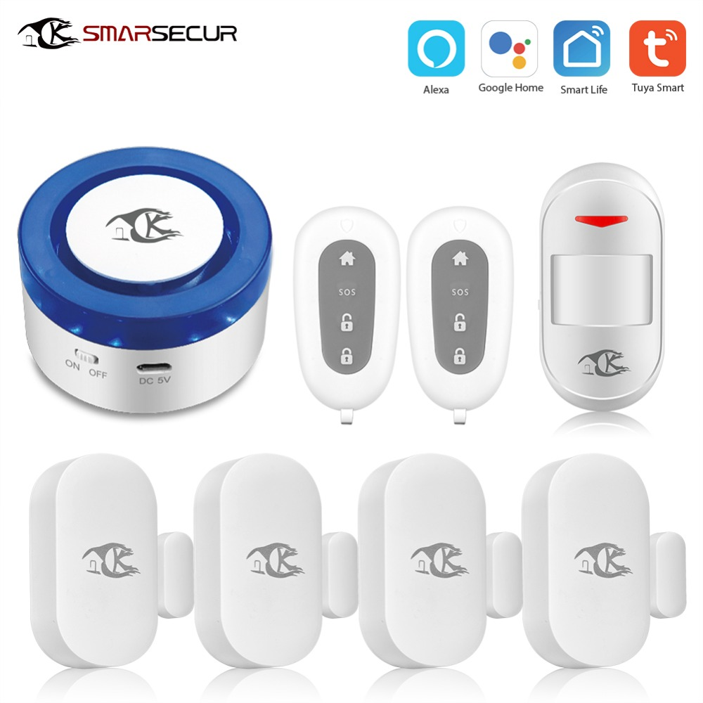 Wireless Smart Siren Alarm Home Security System Auto dial Motion Detection works with Smart life App Control in Alarm System Kits from Security Protection