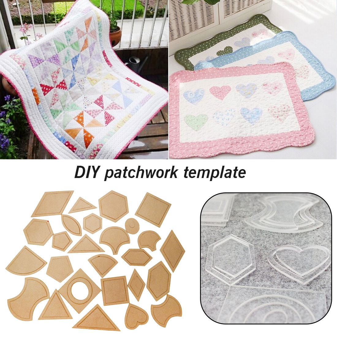 54pcs <font><b>Patchwork</b></font> Template DIY Handmade Craft Sewing <font><b>Tool</b></font> Transparent Template Different Shape Pattern Quilter Quilting Supply image