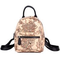 Винтажный стиль маленький цветочный принт женский рюкзак из натуральной кожи shcool сумка