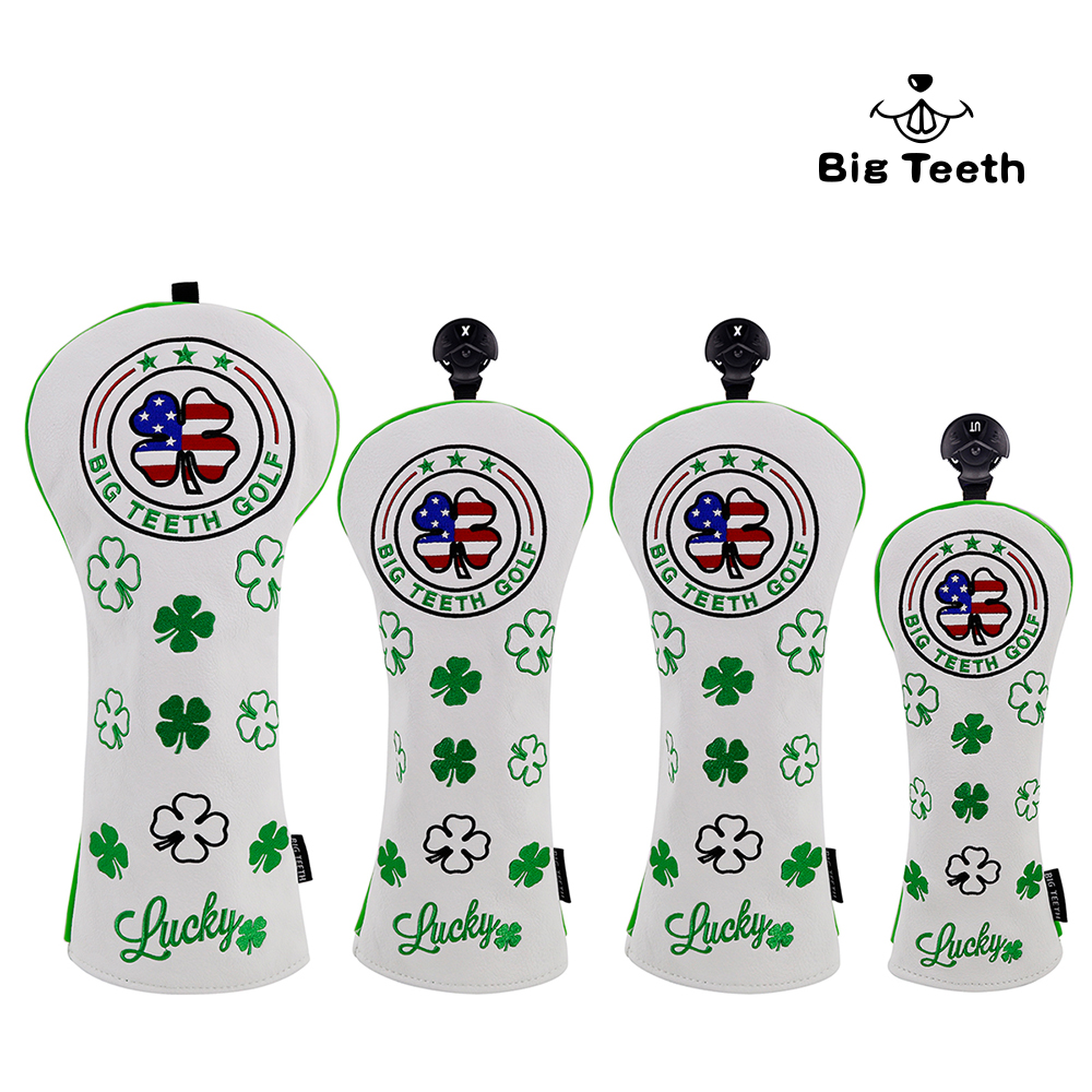 Big Teeth Golf Wood Head Covers Headcover Lucky SHAMROCK Driver FW UT Putter Headcovers Free Shipping