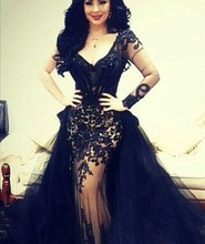 Arabian Design Black V Neck Appliqued Sheer Long Sleeve Mermaid with Train Prom Dresses