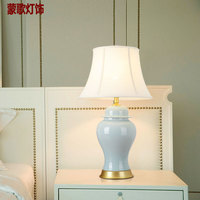 TUDA Free Shipping Contemporary Style Table Lamp Yellow Vase Ceramic Table Lamp Large Ceramic Table Lamp Foyer desk Lamp E27