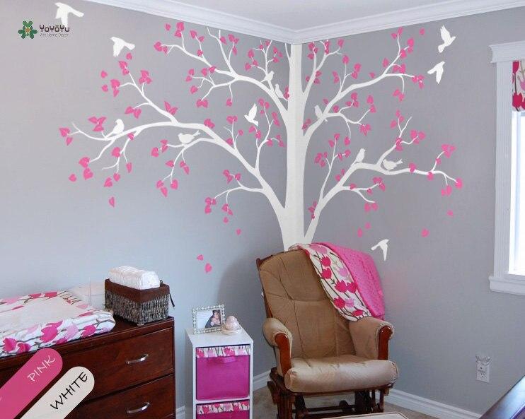 YOYOYU vinyle sticker mural beau arbre oiseau papillon personnaliser bricolage salon Art décoration de la maison autocollants FD539