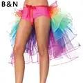 B & N Cauda Rainbow Unicorn Traje Saia Mulheres Senhora TUTU Adulto 7 Camadas Anágua de Tule Fita Pettiskirt Partido Personalizado 60 cm