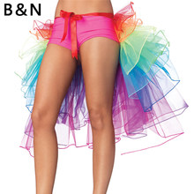 B&N Unicorn Tail Rainbow Skirt Costume Women Lady TUTU Adult Petticoat Tulle Ribbon Party Pettiskirt Custom 7 Layers 60 cm(China)