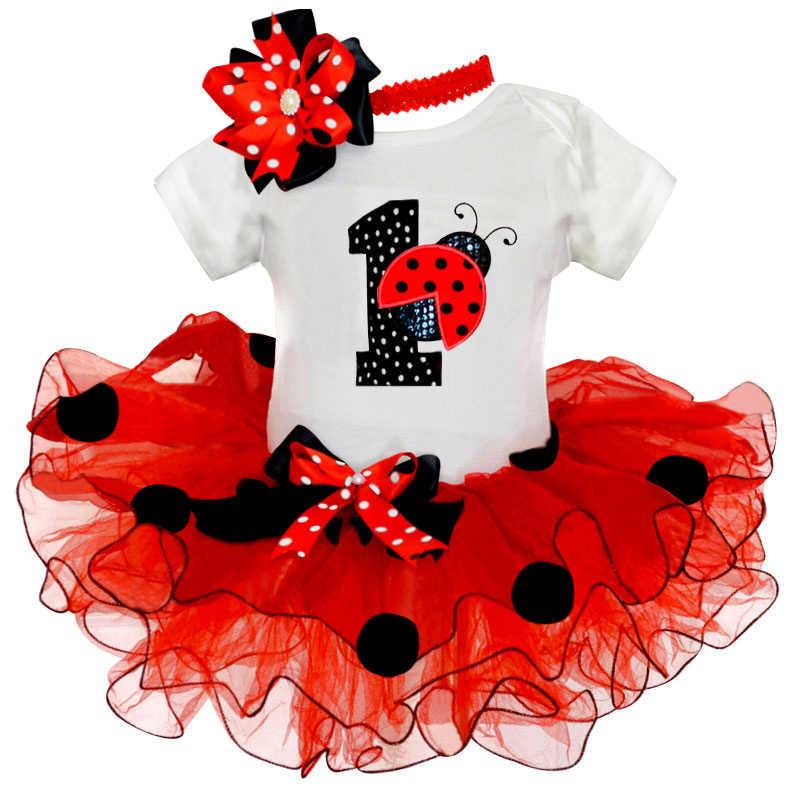 Strange Fancy Baby Girl Ladybug 1St Birthday Party Dress Outfit Tutu Cake Funny Birthday Cards Online Kookostrdamsfinfo