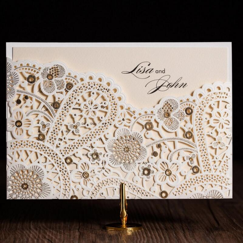 50pcs/pack Free Shipping Laser Cut  Flowers Vintage Wedding Invitations Baby Shower Card Casamento Event & Party Supplies 50pcs pack laser cut wedding invitations cards elegant flowers free printing birthday party invitation card casamento