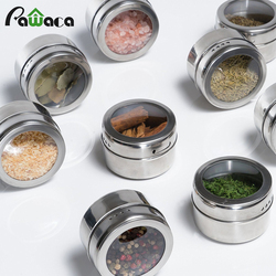 12pcs/6pcs Stainless Steel Spice Jars Set Cans for Herb Salt Pepper Spices Magnetic Spice Tins Condiment Pot Storage Containers