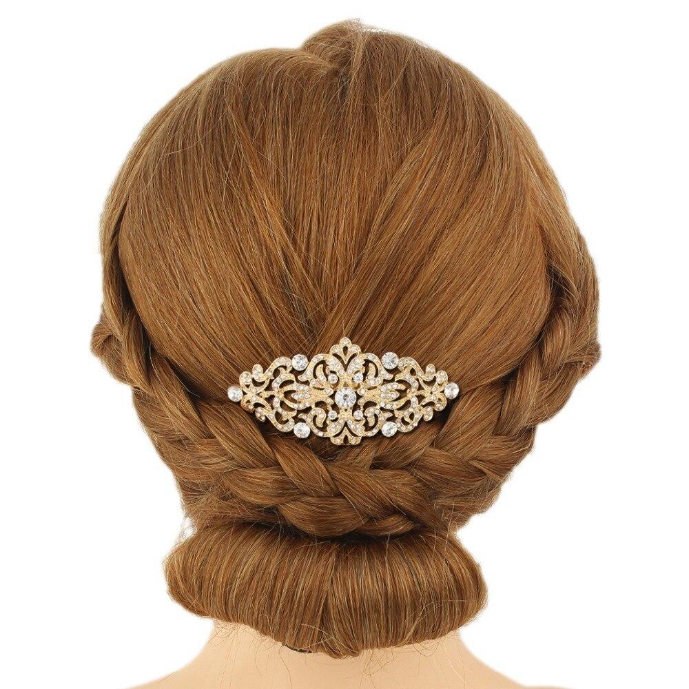 Bella Fashion Rose Flower Leaf Bridal Hair Comb Austrian Crystal Rhinestone Wedding  Headpiece For Women Party Jewelry Gift 86d7a0502de5