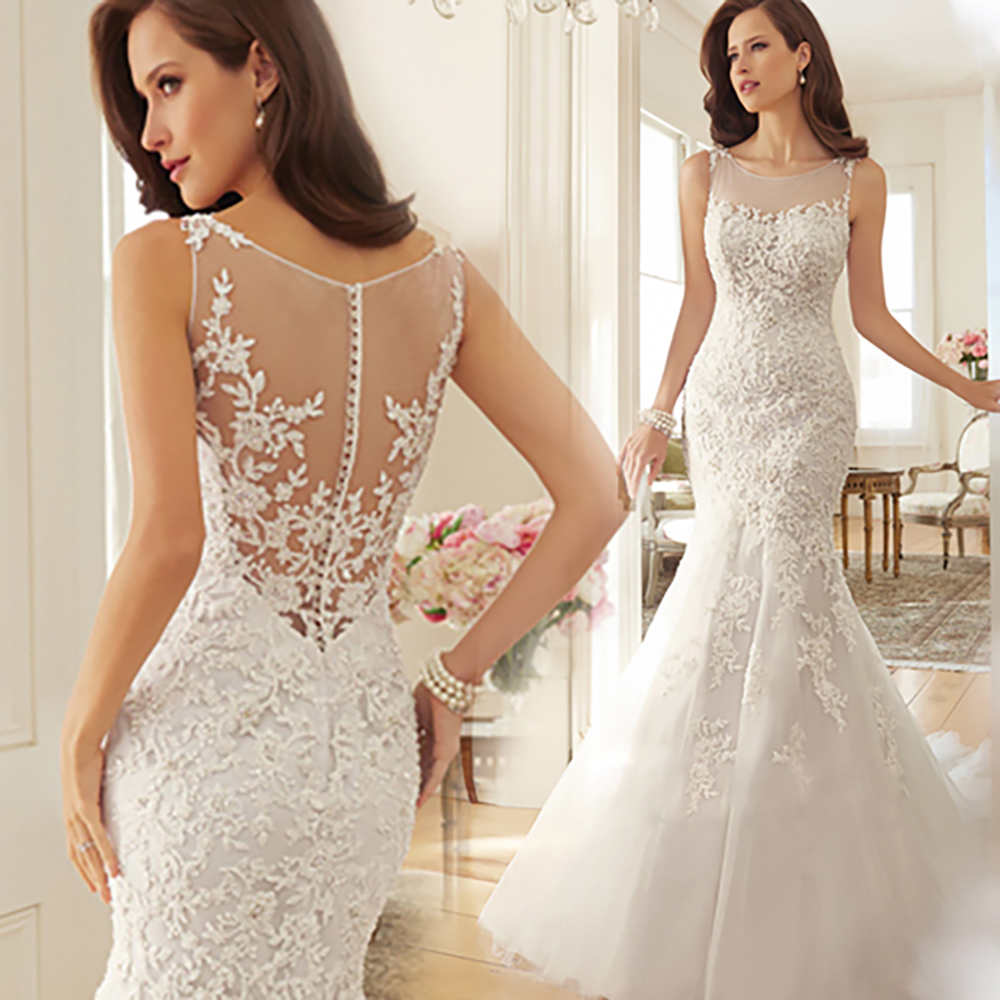 Fansmile 2020 New Arrival Vestido De Noiva Lace Mermaid Wedding Dress Custom Made Plus Size Bridal Dress FSM-589M