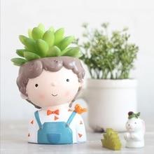 Virágcserepek Kreatív fiatalkori modell Succulent Planter Pot Resin Kézműves Kawaii alakú asztali dekoráció 2018 XK