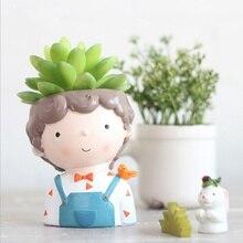 Lillepotid Creative Juvenile Model Suculent Planter Pot Resin Käsitöö Kawaii kuju töölaua dekoratsioon 2018 XK