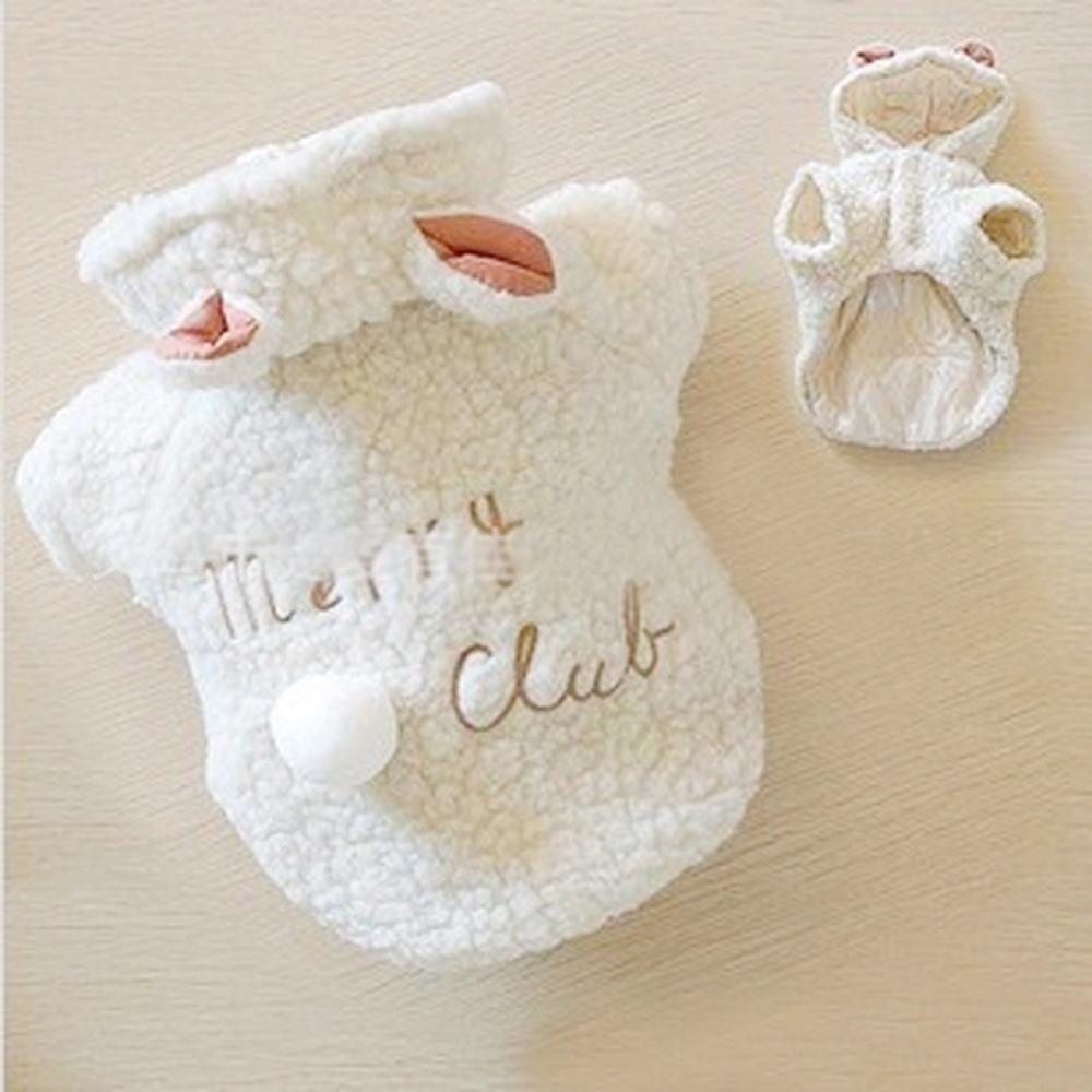 Hot Sales Pet Puppy Dog Clothes Hoodies Cute Winter White Sheep Warm Hoodie Coat Apparel 5 Sizes
