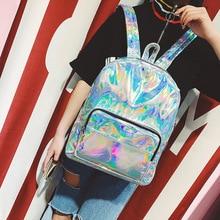 Dudini корейской моды лазерная сумка женский Отдел одноцветное Цвет личности новых ярких ПУ высокое качество Рюкзаки