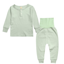 Детский Пижамный костюм; сезон весна-осень; Хлопковая пижама с длинными рукавами для мальчиков и девочек; Детский костюм для ухода за животом; однотонная домашняя одежда; одежда для сна
