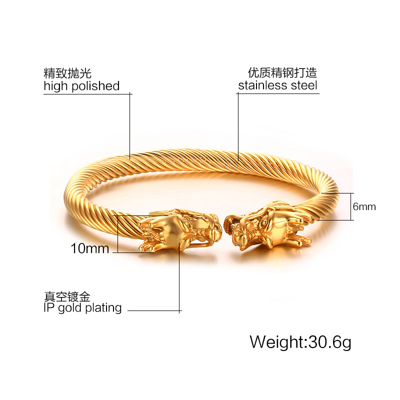 Cool Mens Gold Color Stainless Steel Double Dragon Heads Wire Cable Viking Bracelet Men Cuff Bangle Bracelets In Bangles From Jewelry Accessories On