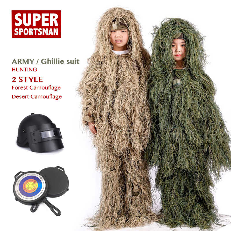 a3f877272cd64 Children Jungle Mens Ghillie Suit Boy Camouflage Sniper Hunting Clothes  Kids Girl Woodland Tactical Uniform Army