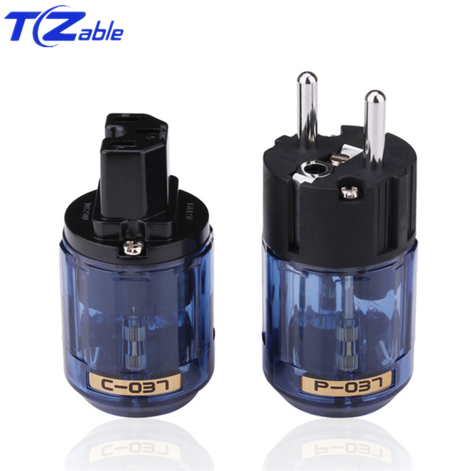 EUR Power Plug Jack Adapter Oyaide Rhodium Plated C-037 IEC Plug P-037E Schuko Power Male Female Blue 10A-15A 250V