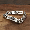 2017 Punk Sword cross between flowers bend Tag 100% Real 925 sterling silver men bracelet bangle loom bands fine jewelry GB30