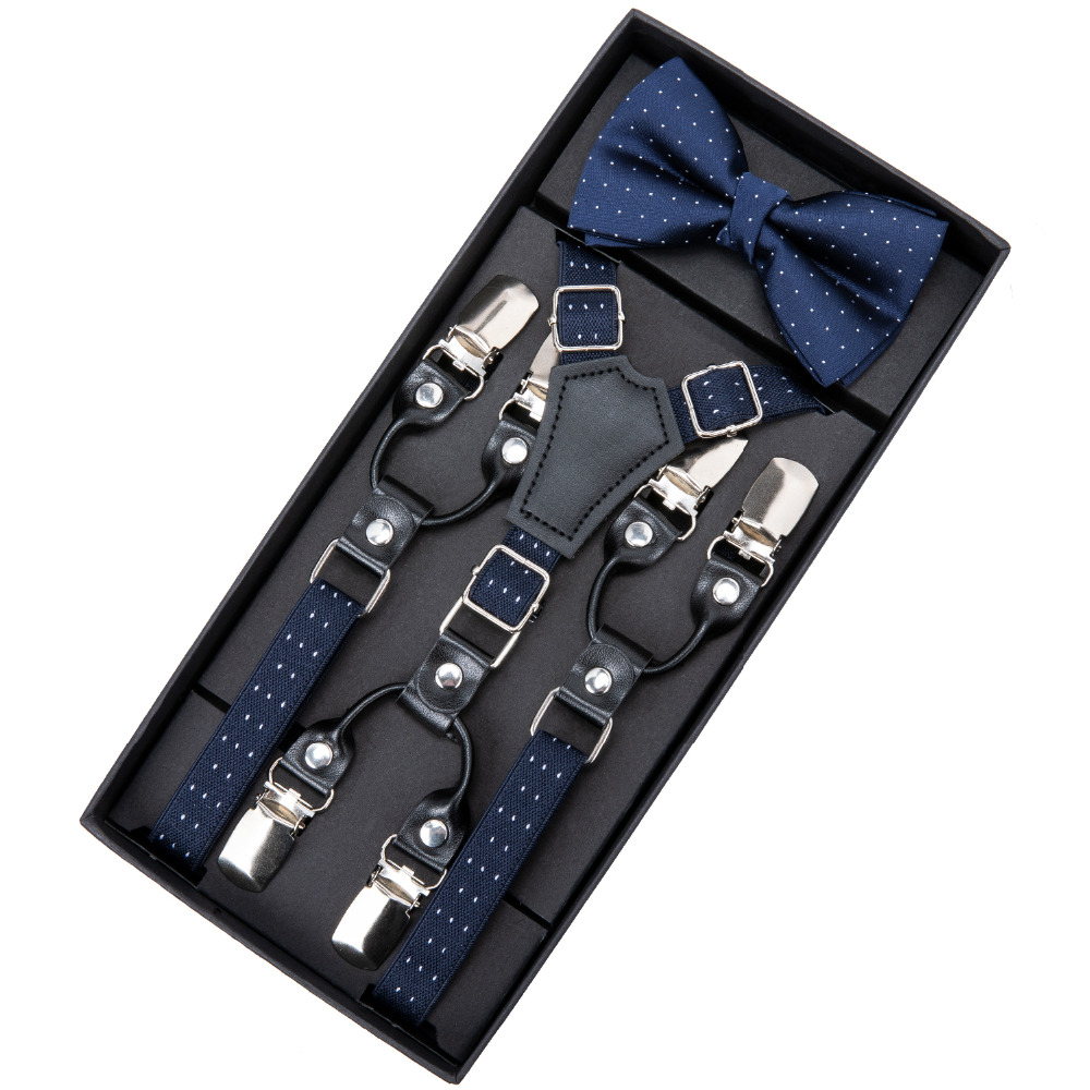 DiBanGu 6 Clips Fashion Kids Leather Suspenders Straps With Bow Tie Trousers Braces Elastic Blue Bowtie Adjustable Suspenders