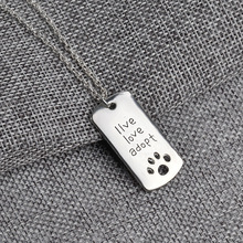 "Cute ""live love adopt"" paw print pendant necklace"