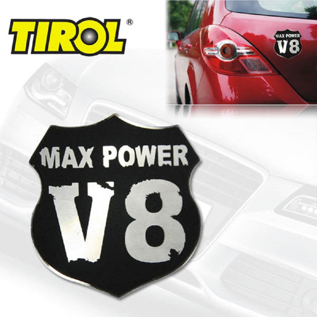 TIROL Free Shipping  Stainless Steel Shield/Emblem Decal Car Sticker For Auto Exterior Decoration T17086a