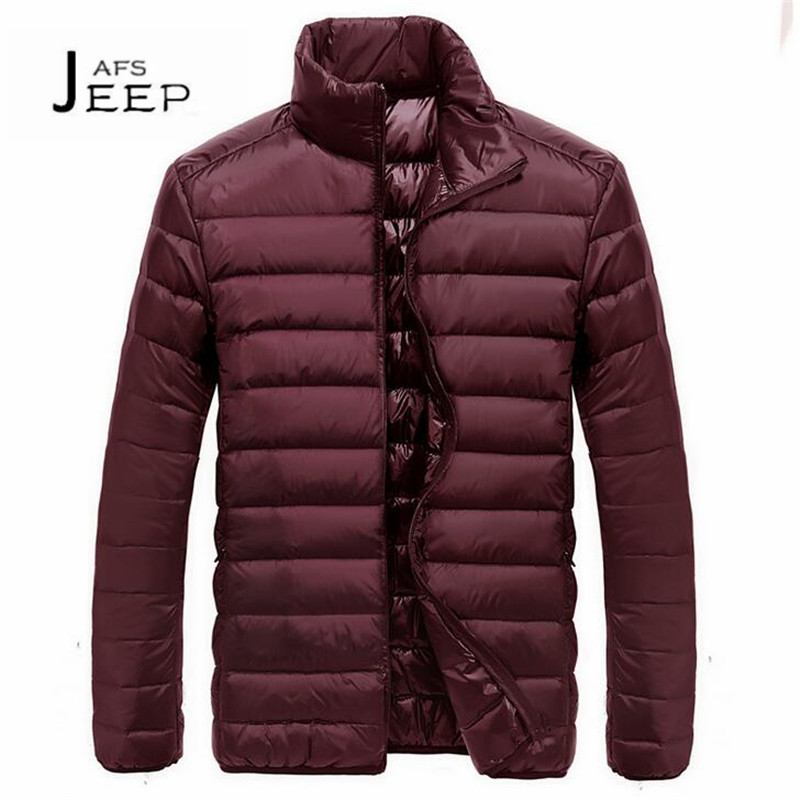 JI PU Winter Mans Stand Collar Mans Thickness pato blanco abajo zipper Cardigan Outwear,Solid Slim Keep Warm Coats M to 3XL