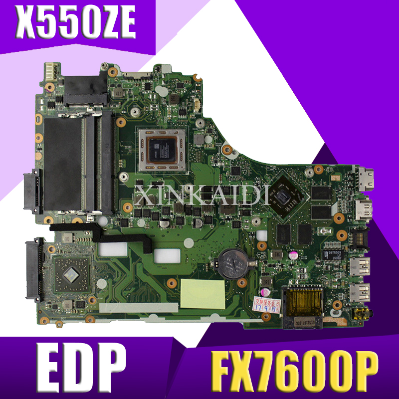 XinKaidi X550ZE Laptop motherboard for ASUS X550 X550Z K550 VM590Z A555Z K555Z X555Z Test original mainboard FX7600P EDPXinKaidi X550ZE Laptop motherboard for ASUS X550 X550Z K550 VM590Z A555Z K555Z X555Z Test original mainboard FX7600P EDP
