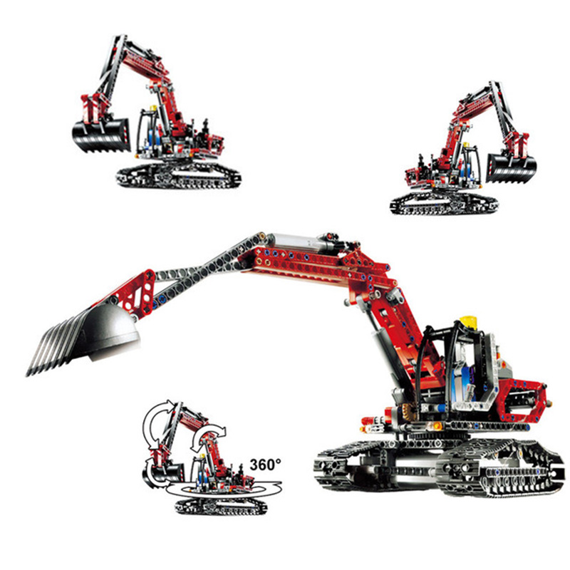 MOC Technic Series Compatible Legoing Building Blocks 8294 Creative Red Engineering Excavator Diy Bricks Technic Crane lepin 20025 760pcs technic the red engineering excavator set building blocks bricks model toys christmas gifts compatible 8294