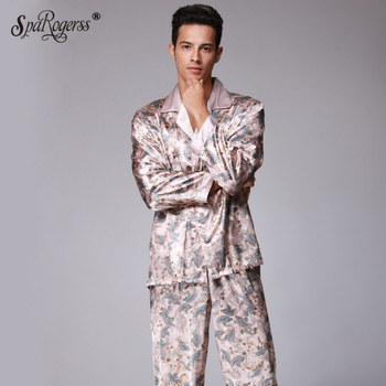 Luxury Mens Pajama Sets 2017 Brand New Faxu Silk Pajamas Pants Suit Home Sleep Clothing Long Pants 2 pcs Smooth Sleepwear TZ073 pajamas