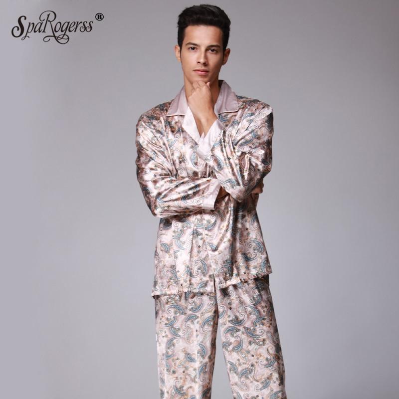 Christmas Pajama Men Synthetic Silk Pijama Set Brand New Mens Pajama Set Pants Suit Sleep Lounge Luxury Men Clothing SatinTZ073